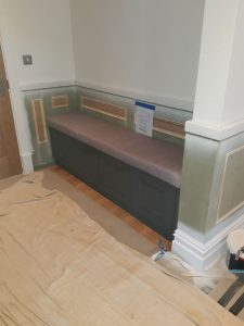 hand painted cloakroom area
